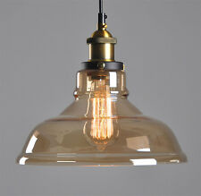 Modern Amber Vintage Pendant Ceiling Light Glass Lampshade Fitting Brass Loft