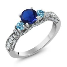 2.04 Ct Round Blue Simulated Sapphire Swiss Blue Topaz 925 Sterling Silver Ring