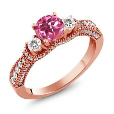 2.25 Ct Round Pink Mystic Topaz White Sapphire 18K Rose Gold Plated Silver Ring
