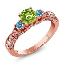2.14 Ct Round Green Peridot Swiss Blue Topaz 18K Rose Gold Plated Silver Ring
