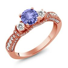 2.15 Ct Round Blue Tanzanite White Sapphire 18K Rose Gold Plated Silver Ring