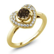 0.73 Ct Round Brown Smoky Quartz 18K Yellow Gold Plated Silver Heart Ring
