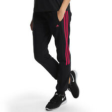 Womens Adidas Essential 3 Stripe Tracksuit Bottoms Gym Pants Fitness Black - NEW