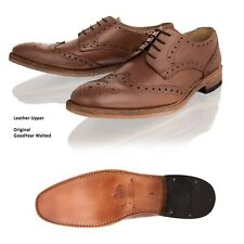 Mens Brogue Goodyear Welted Leather Sole Lace up Smart Formal Office Shoes Size