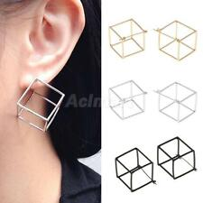 Women's Fashion Geometric Cube Style Hollow Ear Studs Partywear Prom Earrings