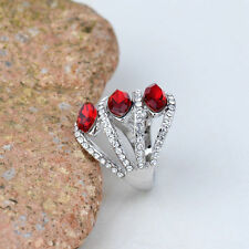 New 18K White Gold Plated Red Crystals Women Ring Elegant Jewelry CZ Rhinestone