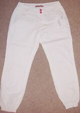 GIRLS WHITE CUFFED PURE COTTON TROUSER IN AGE 13 OR 14 YEARS ADJ WAIST BNWT