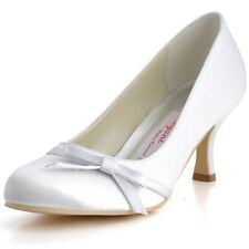 A0756 Ivory White Closed Toe Mid Heel Bridal Pumps Bows Satin Wedding Gown Shoes