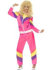 Ladies 80's Shell Suit Costume Pink Fancy Dress All Sizes
