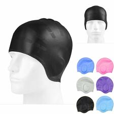 Unisex Adult Silicone Stretch Swimming Swim Cap Hat Ear Cup Cover Waterproof