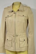 BEBE JACKET coat crop moto Cropped Zipper Anabeth Leather Anorak beige 207646