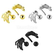 Stainless Steel Punk Rock Hand Skeleton Stud Earrings for Men 3 Colors
