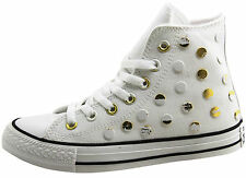 Converse Women Hi Top Sneakers Shoes Metal Dots White Sport Trainers All Sizes~