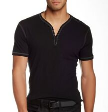 John Varvatos Star USA Mens Short Sleeve 4 Snap Henley Black Cotton $98 msrp NWT