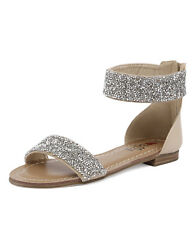 New I Love Billy Shelina Nude/Silver Women Shoes Flats Sandals Flat Sandals