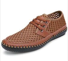 Mens Genuine Leather Shoes Summer Sandals Breathable Soft Men's Handmade Loafers