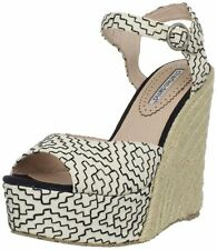 Charles David Women's Baja Black and White Fabric Wedge Espadrille Sandal