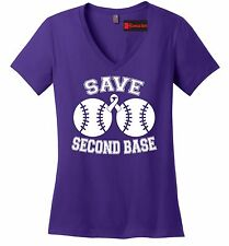 Save Second Base Cute Breast Cancer Awareness Ladies V-Neck T Shirt Boobies Z5
