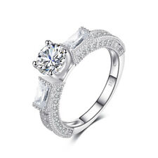JewelryPalace Vintage 3 Stone Cubic Zirconia Engagement Ring 925 Sterling Silver