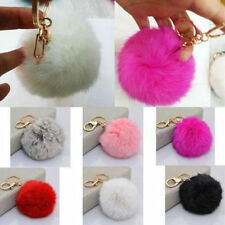 1Pc Unisex Plush Rabbit Fur Ball Keychain Keyfob Car Lobster Clasp Charm Keyring