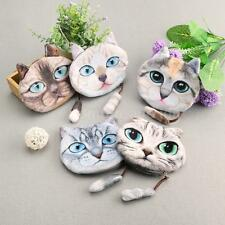 Women Cat Face Print Mini Wallet Small Clutch Bag Coin Purse Cute Handbag U7E1