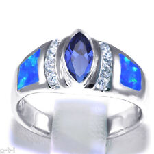 Blue Sapphire Marquise Blue Opal Simulated Diamond Sterling Silver Ring