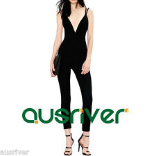 Women's V Neck Black Sexy Long Jumpsuits Backless Overalls Rayon Pants Brand New