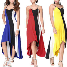 Comfortable Lady Sexy Maxi Dress Striped Sleeveless Spaghetti Strap Dresses