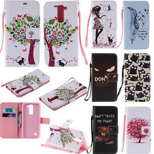 Cute Patterns Phone Case for LG G5 V10 K7 K10 PU Leather Stand Wallet Flip Cover
