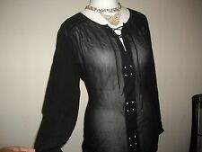 NEXT SZ 12 BLACK CLASSY LACE UP CHIFFON BLOUSE TOP BNWT.. NEW IN 2016 rrp £36