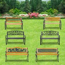 IKAYAA Outdoor Garden Park Bench Patio Furniture Cast Iron Leg Painted Wood B2H2