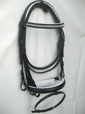 New snaffle leather bridle Black 2 row White diamonte & padding in 4 sizes
