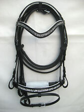 New Dressage bridle with White crystal comfort poll noseband black +Reins