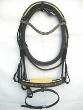 New Dressage bridle with GOLD crystal comfort poll noseband black +Reins