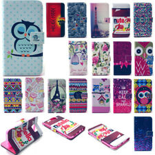 PU Patterns Leather Case for Samsung Nokia HTC Desire 500 Phone Stand Flip Cover
