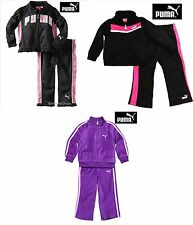 NWT PUMA 12 MONTHS TRACK OUTFIT BLACK PINK, PANTS SET SWEATSHIRT ADORABLE NEW