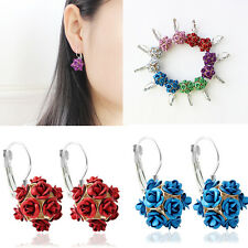 1 Pair Rose Flower Ear Studs Gold Plated Shinny Earrings Fashion Jewelry Gift