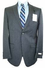 Calvin Klein Mens Slim Fit 2 Piece Suit 100% Wool Pinstripes 2 Button 1240 Grey