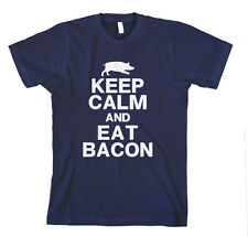 KEEP CALM AND EAT BACON Navy Unisex Adult T-Shirt Tee Top