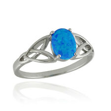 Trinity Celtic Knot Blue Opal Ring - 925 Sterling Silver - Sizes 5-10 NEW