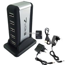 2.0 HUB 7 Port USB Powered +AC Adapter Cable High Speed Charger Extender Desktop