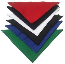 """Solid Triangle Bandanas 22"""" x 22"""" x 30"""" (12 Pack)100% Cotton - Wide Selection"""