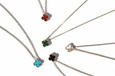 Four leaf clover mother of pearl/turquoise/black onyx necklace 18k gold plated