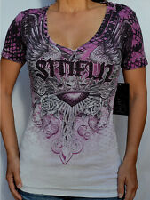 Sinful by Affliction INSATIABLE - Woman's V-Neck Burnout T-Shirt - S2856 - NEW