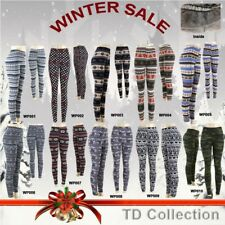 Women Warm Winter Thick Footless Skinny Slim Print Leggings Stretch Pants