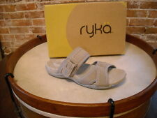 Ryka Gray Perforated 2 Strap Slip-on Sandals NEW