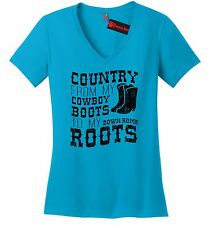 Country Cowboy Boots Roots Ladies V-Neck T Shirt Music Country Song Concert Z5