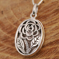 925 Sterling Silver Filigree Rose Flower Round Locket Chain Necklace & Gift Box