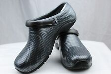 Cherokee Anywear Zone Silver/Gray Black Clogs+Backstrap Nurses/Chef/Doctor Shoes