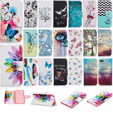 Patterned Phone Case for iPhone 7/7 Plus Card Wallet PU Leather Stand Cover Skin